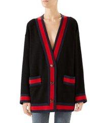 women's gucci ribbon trim oversize tweed cardigan, size 2 us - black