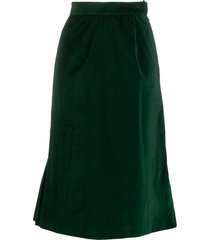 batsheva velvet flared midi skirt - green