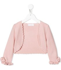 mimilù ruffle cuff scalloped cardigan - pink