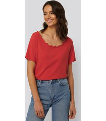 na-kd oversized babylock ribbed tee - red
