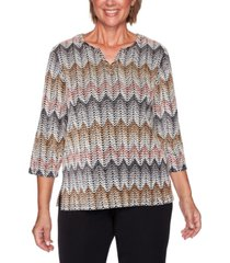 alfred dunner petite glacier lake chenille zigzag textured top