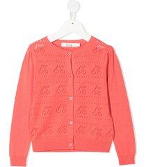 bonpoint cherry pointelle-knit cardigan - pink