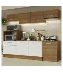 cozinha completa madesa onix 240003 com armario e balcão rustic/branco 5z6e rustic/rustic/branco
