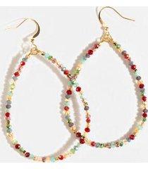 indie glass beaded drop earrings - burgundy