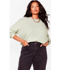 womens get on with knit plus tie sweater - sage