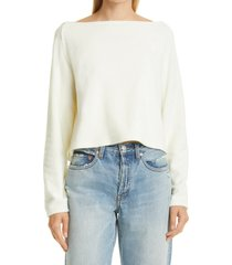 atm anthony thomas melillo loop terry cotton sweatshirt, size x-small in chalk at nordstrom