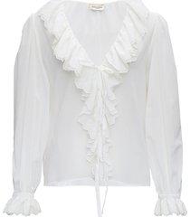 saint laurent white cotton voile shirt