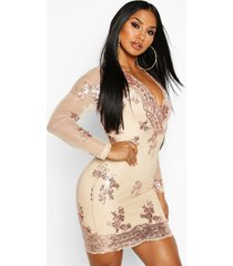 boutique sequin print mesh bodycon dress, gold