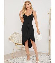 vestido a media pierna con dobladillo alto y bajo con diseño sin espalda de espagueti de yoins