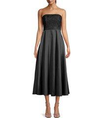 sachin & babi women's strapless floral a-line dress - black - size 10