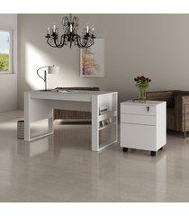 conjunto de escritório com mesa e gaveteiro 01 branco dallas - tricae