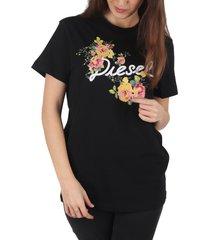 diesel designer t-shirts & tops, flavia flower black printed cotton t-shirt