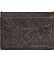 men's barbour amble leather rfid card case - brown