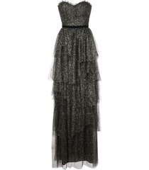 marchesa notte ruffled tiered strapless gown - gold