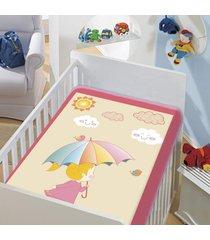 cobertor infantil jolitex tradicional dia de sol rosa bebe feminino