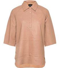 slfannabella 3/4 leather shirt b overhemd met korte mouwen beige selected femme