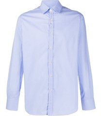 canali micro cherry print shirt - blue