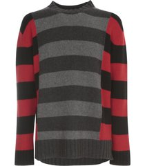 les hommes round neck sweater w/ contrast lines