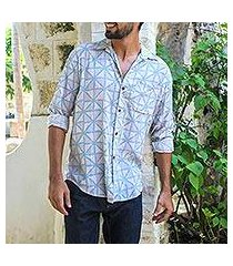 men's button-up shirt, 'pastel blue geometry' (indonesia)