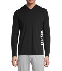 boss hugo boss men's identity logo stretch-cotton hoodie - black - size s