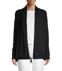 pure navy women's long-sleeve open-front cardigan - black - size xs