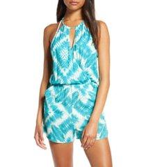 women's luli fama senorita cover-up romper, size medium - blue/green