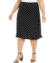 kasper plus size polka-dot stretch midi skirt