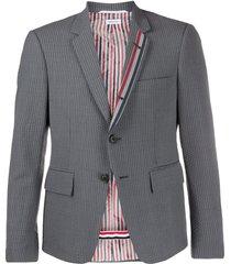 thom browne seersucker stripe high armhole jacket - grey