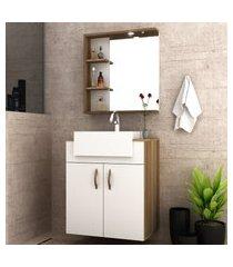 gabinete p/ banheiro bosi lara com cuba e espelheira led nogal/branco