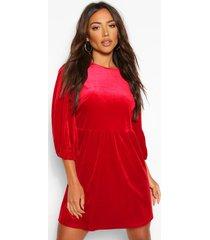 fluwelen loshangende jurk met extreme pofmouwen, berry