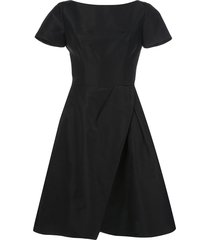 carolina herrera wrap flared midi dress - black