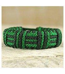 cord bracelet, 'green kente power' (ghana)