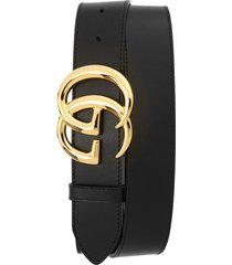 men's big & tall gucci gg logo leather belt, size 115 eu - black