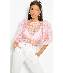 flannel organza puff sleeve top, pink