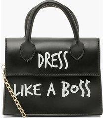 dress like a boss slogan crossbody bag, black