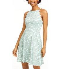bcx juniors' polka dot scalloped fit & flare dress