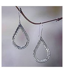 sterling silver dangle earrings, 'braided teardrop' (indonesia)