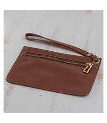 leather wristlet, 'chestnut sophistication' (brazil)