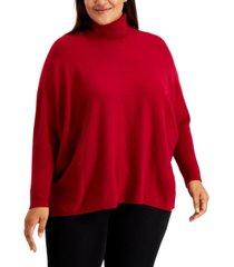 alfani plus size drop-shoulder turtleneck sweater, created for macy's