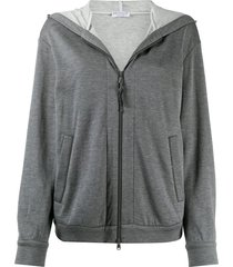 brunello cucinelli zipped long-sleeve hoodie - grey
