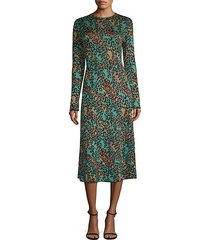 abito leopard print lurex midi dress