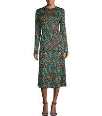 abito leopard print lurex midi dress