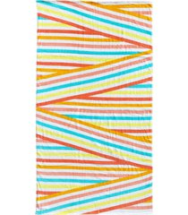 martha stewart collection tilted stripe velour beach towel, created for macy's bedding