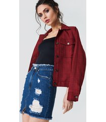 na-kd ripped front slit denim skirt - blue