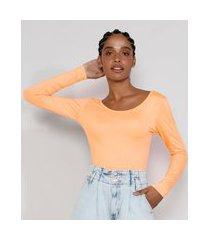blusa feminina básica manga longa decote redondo laranja claro