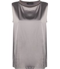 fabiana filippi sleeveless shift blouse - grey