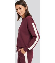 na-kd contrast panel sweatshirt - burgundy