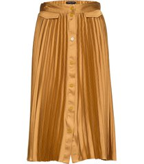 pleated midi skirt with placket knälång kjol gul scotch & soda