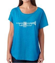 la pop art women's dolman cut word art shirt - trumpet