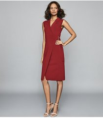 reiss gabrielle - knitted wrap front bodycon dress in berry, womens, size xl